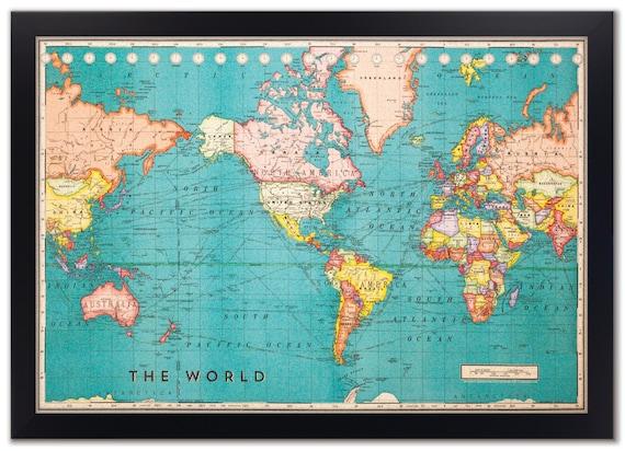 Cork Board World Map Framed Cork Board Map World Map Map | Etsy