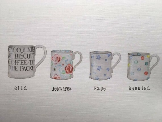 89dc02e67c5 Family illustration using mugs, emma bridgewater inspired hand drawn and  painted. Family gift non print Mother's Day Father's Day new home