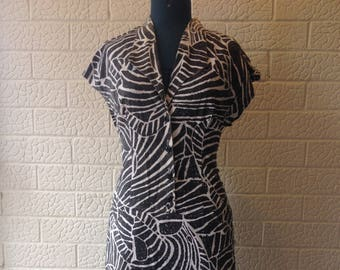 1980's Black and white abstract print button front shirt dress