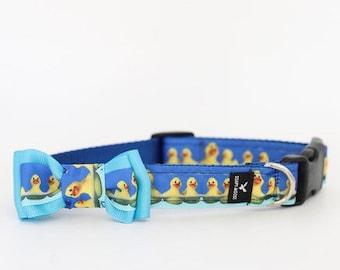 Little Duckies Dog Collar, duck dog collar, duck puppy collar, little ducks, duck themed, cute puppy collar, cute boy collar