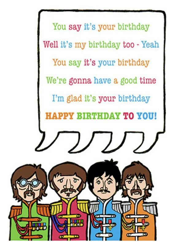 Beatles Birthday Card Etsy