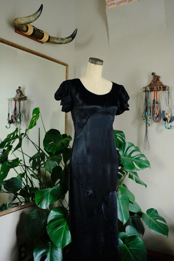 1930s Black Satin Balloon Sleeve Gown