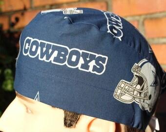 750c68fa2 Men s Scrub Hat made from Dallas Cowboys Navy Blue football fabric