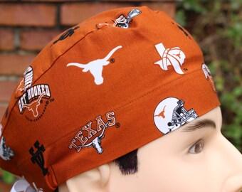 Men's Scrub Hat made from Univ of Texas Burnt Orange fabric