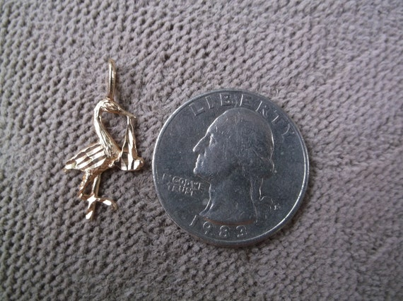 14k Stork with Baby charm  add to Your necklace ch