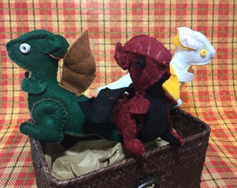 GOT Dragon Hatchling Trio Hand-Stitched, Mini Stuffed Plush, Game of Thrones