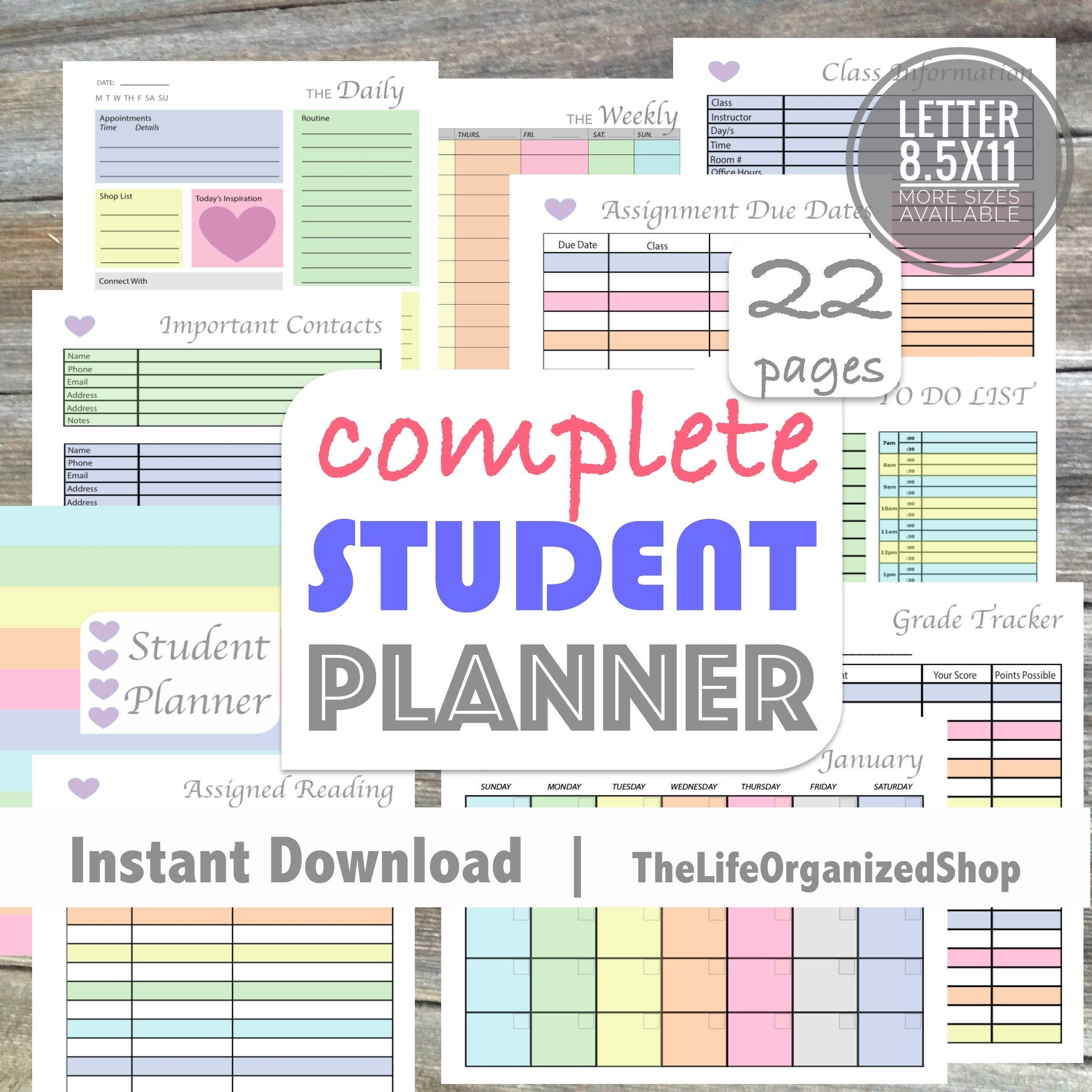 Student Planner (College Student Planner/ High School Student Planner) -  From the Luminous Collection