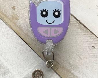 Medical  Badge Reel Blood Sugar Endocrinologist Badge Reel Retractable ID Badge Holder Glucose Meter Badge Reel Diabetic