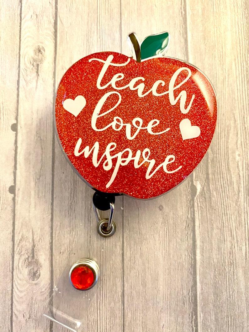 Acrylic Badge ReelTeacher Badge ReelApple Badge Reel Educator Badge Reel