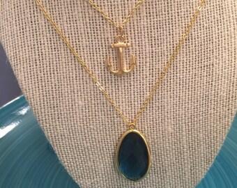 Nautical/Gemstone Layered Necklace Set