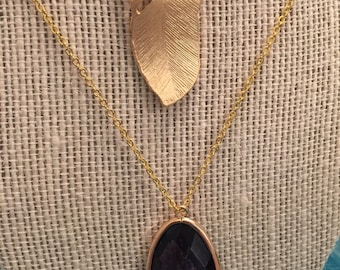 Faceted Gem/Feather Layered Necklace Set