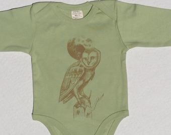Organic Baby Clothes, Boho Onesie, Owl, Moon Art, Baby Bird, Fair Trade Clothes, Long Sleeved Onesie, Winter Clothes, Organic Cotton, Green