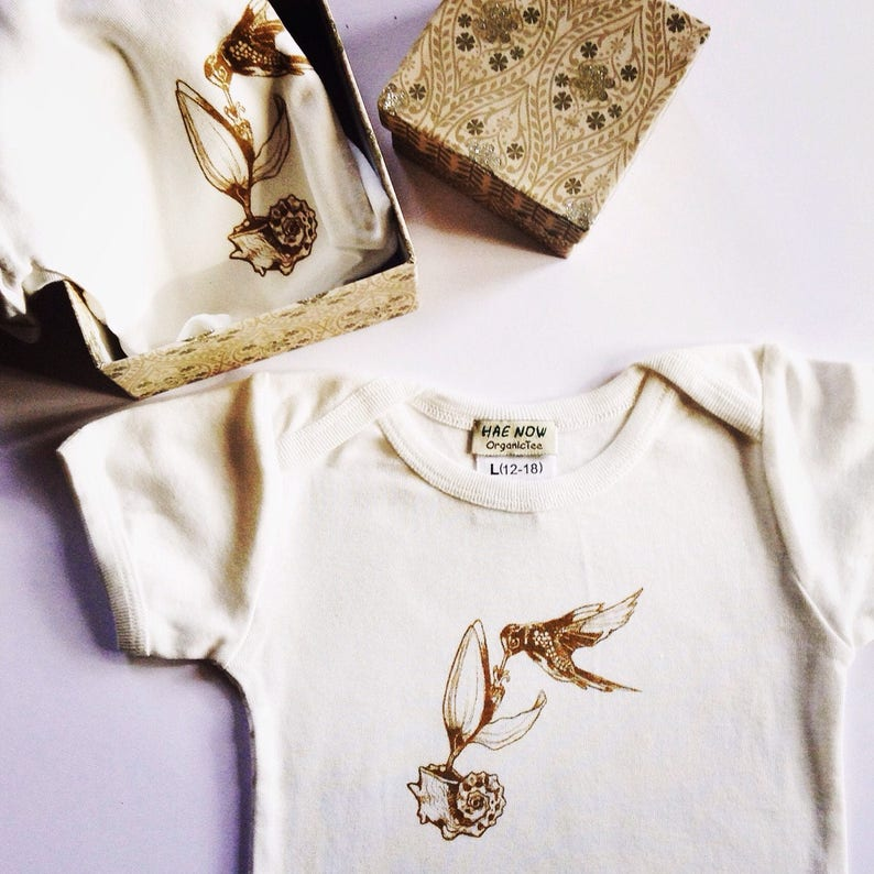 7f22d6ee15062 Organic Baby Girl Clothes, Baby Bird Onesie, Boho Onesie, Vegan Onesie,  Organic Toddler Clothes, 1st Christmas Gift, Humming Bird, Sea Shel