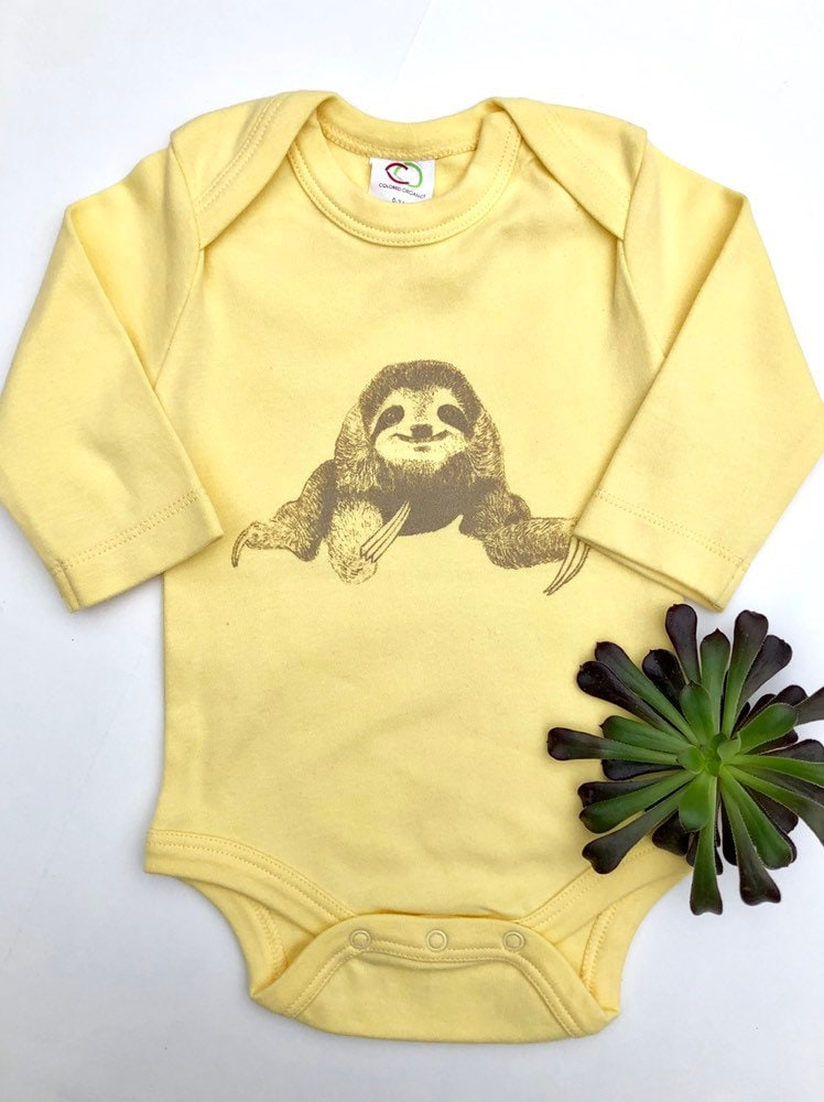 63c9b4bdd Organic Baby Clothes Sloth Funny Baby Clothes Organic Baby