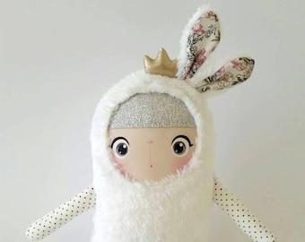 Bunny Doll Princess Lilibeth/ Soft Doll Bunny/ Stuffed Bunny/ White Bunny/ Princess Doll