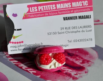 brand room, or worn macaron gourmand chantilly raspberry polymer clay 3cm