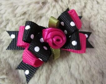 Yorkie Maltese Shih Tzu bow+ 58 single loop pink glitter Donut Dog hair Bow