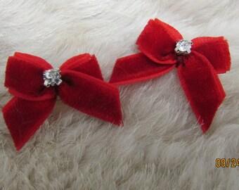 38 xs tiny tie single loop yorkie teacup bow+ Hot pink polka dots paw prints Mo/'s USA Dog Bow