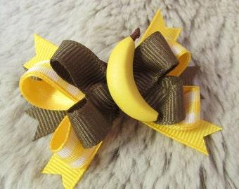 Monkey Food Pigtail 3.5 Yellow Fruit Clip Food Theme Banana Peel Barrette Two-tti Fruity Birthday Banana Hair Bow Banana Gift Girl