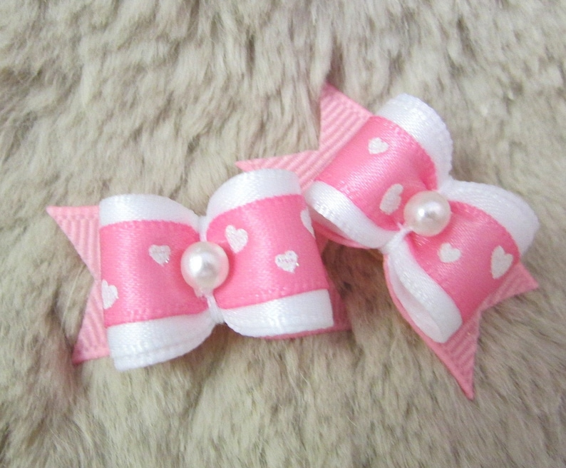 Pink Hair Accessory Love Red Valentine/'s Day White with Colored Hearts Tailed Hair Scrunchie Teal Scrunchies