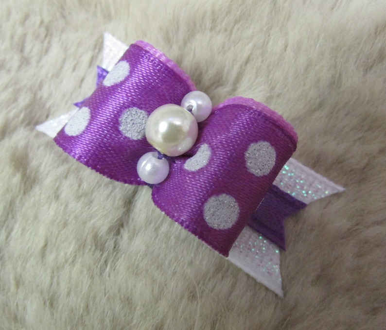 Yorkie Maltese Shih Tzu bow+ purple white glitter polka dots 58 single loop dog bow Mo/'s USA Dog Bow