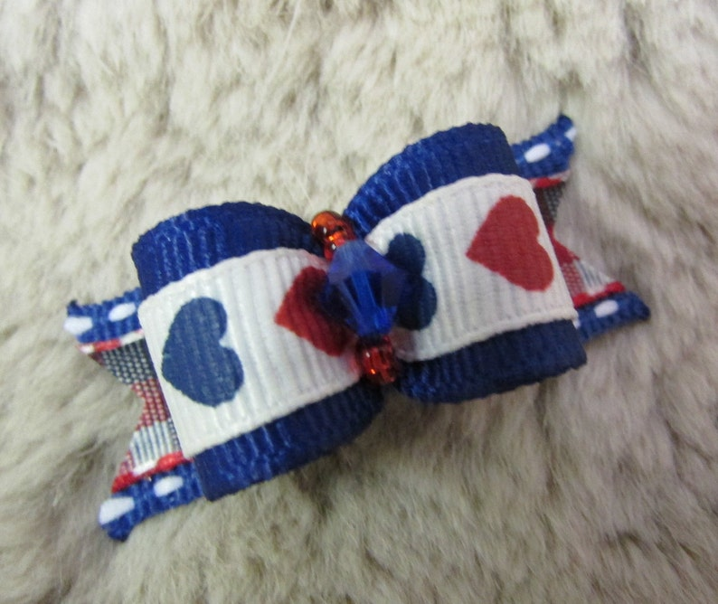 Mo/'s USA dog bow Yorkie Maltese Shih Tzu bow+ 58 single loop 4th of July patriotic blue red white hearts