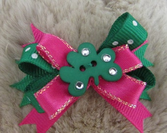 """Mo's USA Dog Bow - 2"""" boutique dog bow  - St. Patrick's Day Shamrock green pink- yorkie bow+"""