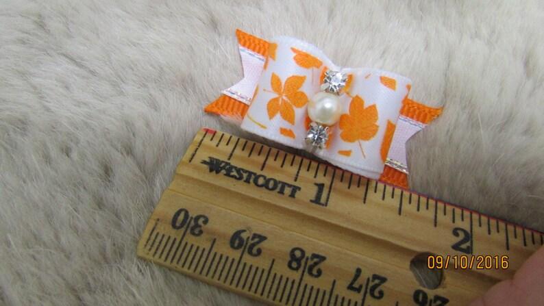 Orange Thanksgiving Mo/'s USA Dog Bow -58 single loop dog bow yorkie bow+ Autumn leaves