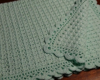 teal crochet wool cover