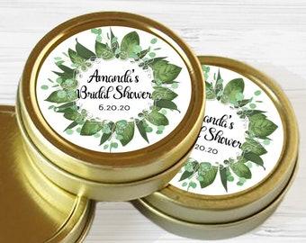 Personalized Gold Round Candy Tin   Eucalyptus Favors   Botanical Favors   Wedding Mint Favor   Wedding Favor   Shower Favor   Mint Tins