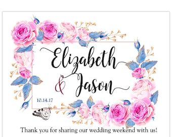 Personalized Pink Floral Welcome Box Labels -  Bridal Shower - Birthday - Wedding Favor Welcome Stickers - Multiple Sizes Available