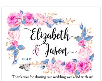 "4"" x 3""  Personalized Welcome Box Labels -  30 Wedding Welcome Bag Labels - Wedding Favor Labels - Welcome Stickers - Box Stickers"