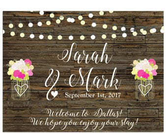 "4"" x 3""  Personalized Welcome Box Labels -  30 Wedding Welcome Bag Labels - Favor Labels - Welcome Box Stickers - Country, Market Lights"