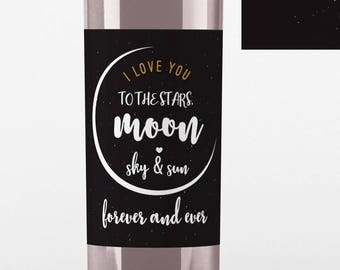 Wedding Wine Label - I Love you to the Moon - Personalized Wine Label - Wedding Wine Bottle Label - Black and Gold - Thank You Wine Labels