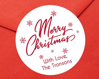 Personalized Christmas Gift Stickers   Merry Christmas label   Christmas Stickers   Christmas Gift Wrap Labels    Ships in 2 Days