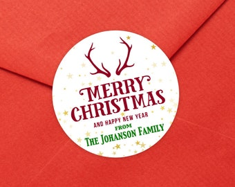 Personalized Christmas Gift Stickers | Merry Christmas label | Christmas Stickers | Christmas Gift Wrap Labels  | Ships in 2 Days
