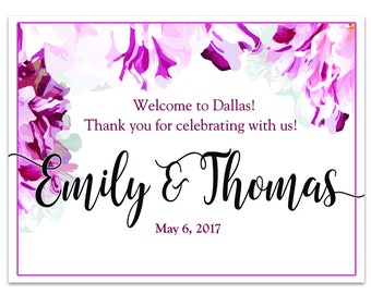 """4"""" x 3"""" Personalized Welcome Box Labels - 30 Wedding Welcome Bag Labels - Wedding Favor Labels - Welcome Stickers - Box Stickers - Spring"""