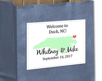 "4"" x 3""  Personalized Welcome Box Labels -  30 Wedding Welcome Bag Labels - Wedding Favor Labels - Stickers - Box Stickers - North Carolina"