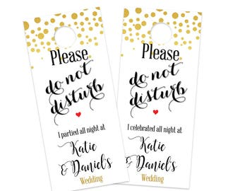 Wedding Door Hangers - Do Not Disturb Sign - Gold Dots  Door Hanger for your out of town guests Welcome Bag hospitality goody bag