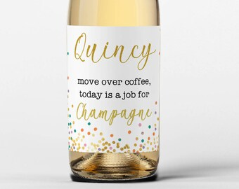 "Personalized Custom Wedding Champagne Wine Labels  -  Confetti - Select the quantity you need below in the ""Number of Labels"" option tab"