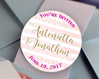 Glossy Round Sticker Label Tags - Custom Wedding Favor & Gift Tags - Pink Stripes - Gold Dots  - Names and Date - Custom Colored