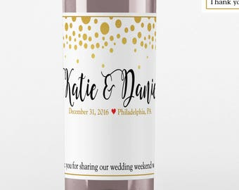 Gold Dots Wine Labels - Wedding Wine Labels - Gold Dots Wedding Favors - Wine Bottle Labels - Wedding Decor - Wine Bottle Labels