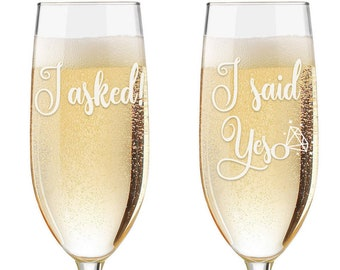 I asked I Said Yes  Personalized Champagne Glasses - Custom Engraved Engagement Toasting Flutes - Engagement Gift - Engagement Flutes
