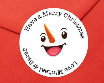 Personalized Snowman Christmas Gift Stickers | Merry Christmas label | Christmas Stickers | Christmas Gift Wrap Labels  | Ships in 2 Days