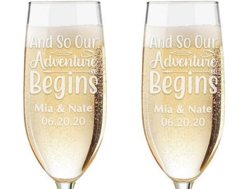 Personalized Wedding Flutes,  2 Toasting Flutes, Engraved Wedding Flute,  Toasting Flutes, Toasting Champagne Flutes, Our Adventure begins