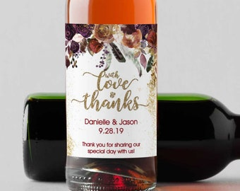Personalized Burgundy Rose Mini Wine Bottle Labels  - Thank You Labels - Miniature Wine Labels - With Love and Thanks   - Set of 10