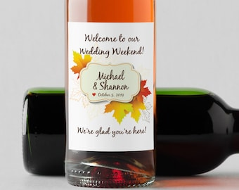 Personalized Fall Leaves Maple Mini Wine Bottle Labels  - Thank You Labels - Miniature Wine Labels - Fall Wedding Favors   - Set of 10