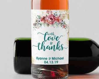 Personalized Pink Rose Mini Wine Bottle Labels  - Thank You Labels - Miniature Wine Labels - With Love and Thanks   - Set of 10