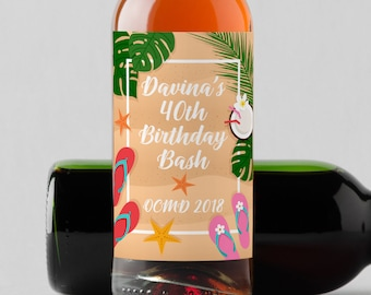 Personalized Custom Mini Wine Bottle Labels  - Beach Starfish Birthday Wine Labels - Set of 10