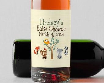 Personalized Custom Mini Wine Bottle Labels  -  Woodlands Baby Shower Mini Wine Labels - Baby Shower Champagne Labels - Baby Shower Bottle